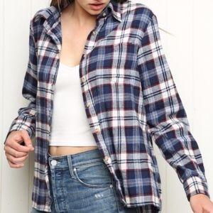 Brandy Melville Plaid Flannel Long Sleeve Top OS